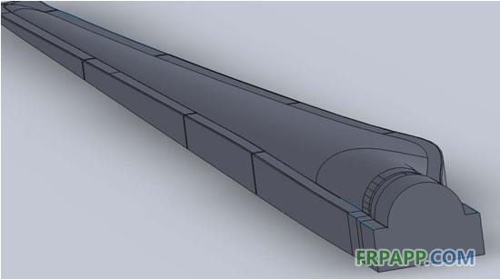 模型设计制作过程   1、分析叶片3D模型、处理,包括分模线确定、分模面设计、合模缝设计等   2、模型分段设计,根据目前常见的龙门铣床尺寸及工厂实际情况确定分段长度。   3、模型基础设计,包括钢架、EPS泡沫外形设计等  钢架设计:模具钢架结构无论在平面或空间都应该是静定的。我们可以使用以下公式证明满足钢架静定的条件。   理论上我们会避免过定义,这样在满足结构强度的前提下既会减少零件数量又会降低钢架整体重量。同时应避免十字梁结构引起的超静定问题。   钢架强度、变形等的校核,包括安装、起吊,运输工况