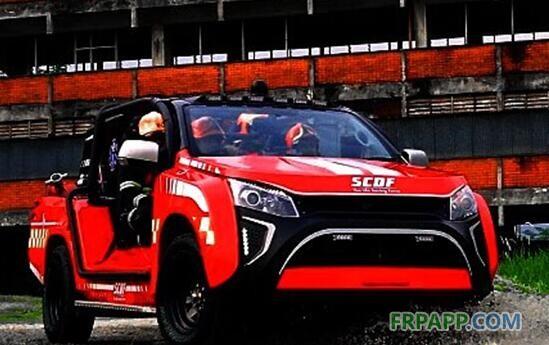 玻璃纤维车身覆盖件 未来消防车设计感十足