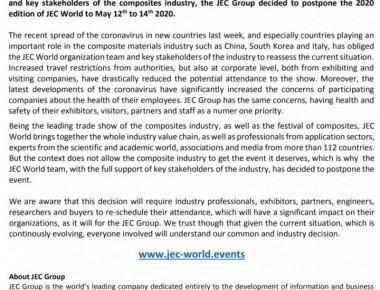 公告:2020年法国JEC展延期申明